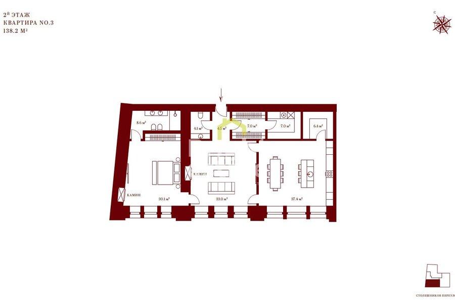 Двухкомнатные апартаменты 138 кв.м. в ЖК Столешников 7. ID 10101