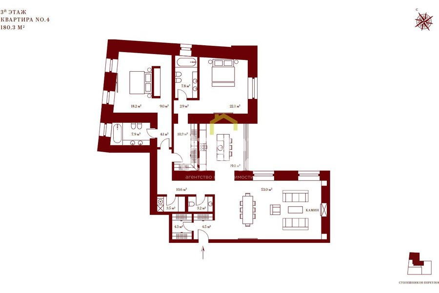 Продажа апартаментов 180 кв.м. в ЖК Stoleshnikov 7. ID 10102