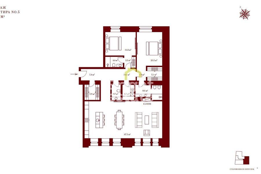Апартаменты 162 кв.м. в клубном доме Столешников 7. ID 10103