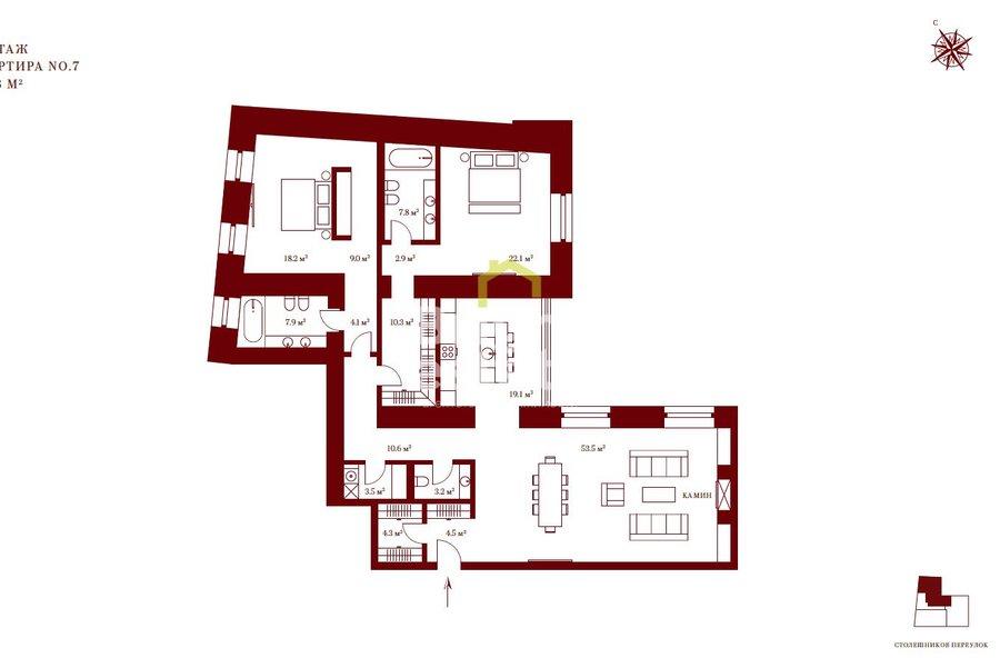 Апартаменты 180 кв.м. в клубном доме Столешников 7. ID 10142