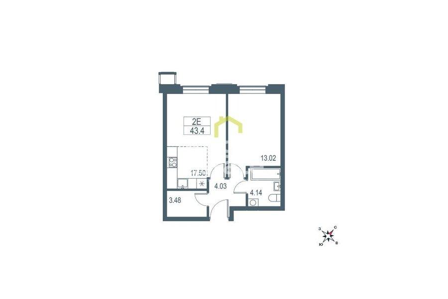 Купить квартиру 41 кв.м. в жилом комплексе Big Time. ID 11487