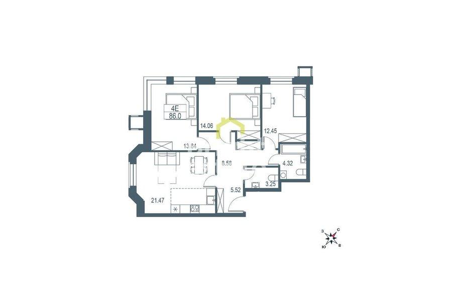 Купить квартиру с отделкой white box в жилом комплексе Big Time. ID 11489