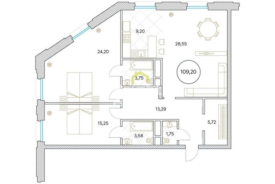 ЖК Софийский — Купить апартаменты без отделки на Якиманке. ID 11984