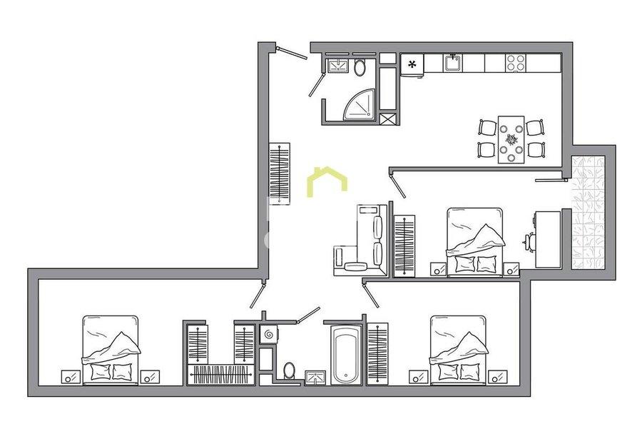 Купить готовую к проживанию квартиру в ЖК Сердце Столицы. ID 13412